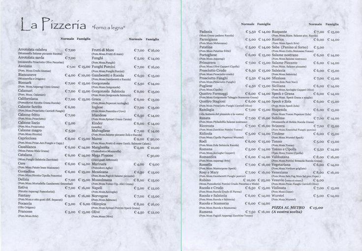 Risultati immagini per menu pizzerie