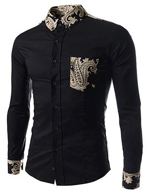 (CE93-BLACK) Slim Fit Stretchy Pattern Patched 1 Chest pocket Long Sleeve Shirts