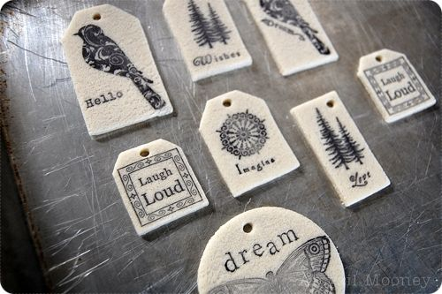 Salt dough vintage stamped label ornaments or gift tags: interesting! I bet you could do this with Femo clay too.
