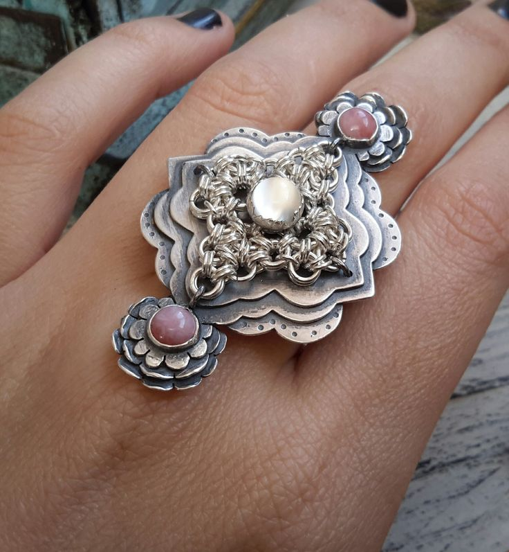 Floral shield ring with handwoven chainmaille piece, pink Opal, white Moonstone