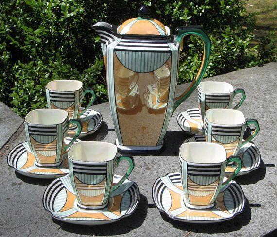 Antique Chocolate Service   Vintage Orange and Green Art Deco Noritake Chocolate Pot Tea Set ...