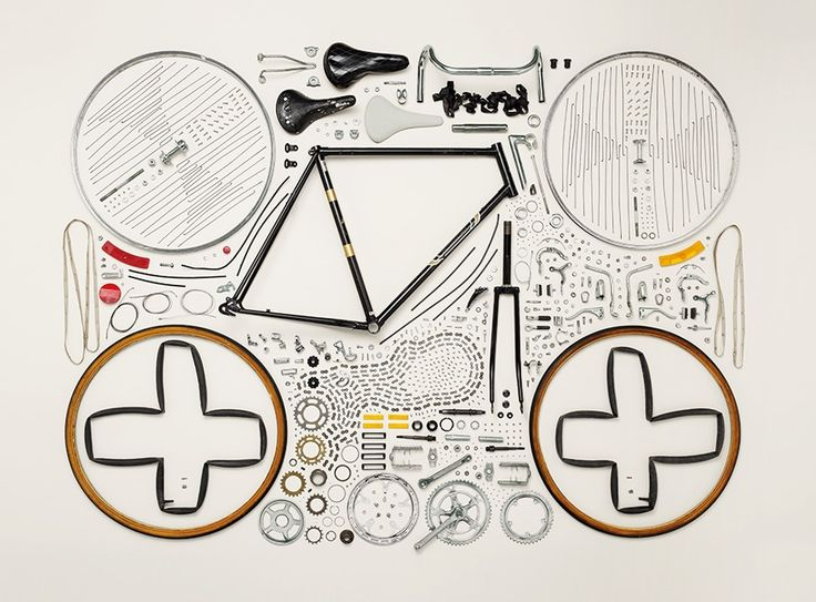 knolling bicycle detail complex parts