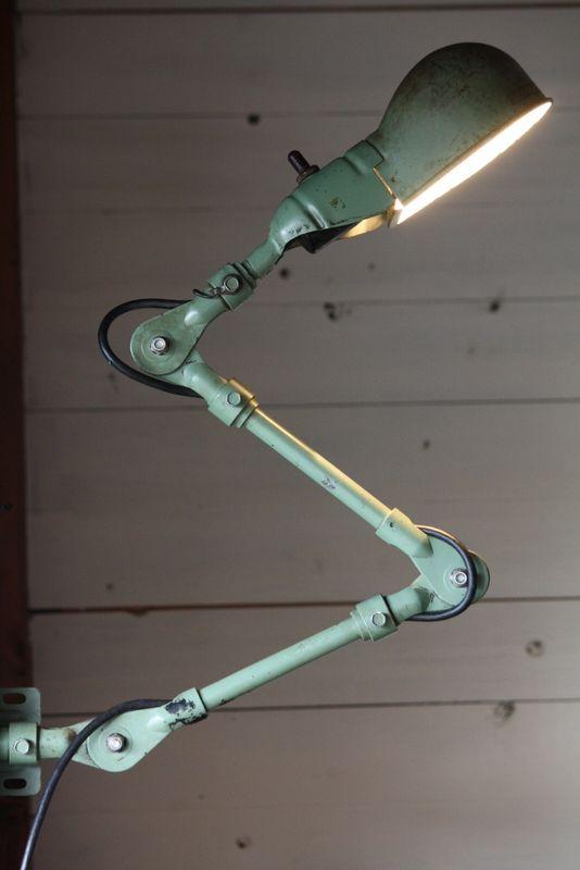 1960年代 アメリカ製 Fostoria社 Machine Lamp インダストリアル 工業系アトリエランプ 枯れた渋いジェダイグリーン
