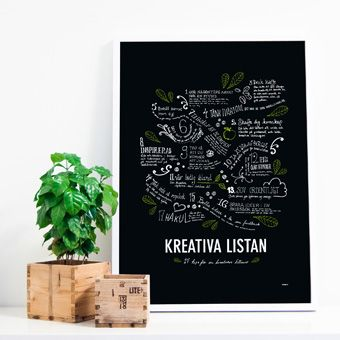 Kreativa listan - griffelsvart. Typography poster on black with 17 tips of how to stay creative! Art print in limited edition of 150 prints from Formstigen2a.se.