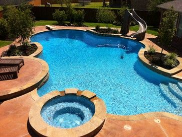 Freeform Pool With Diving Board Slide Traditional Pool