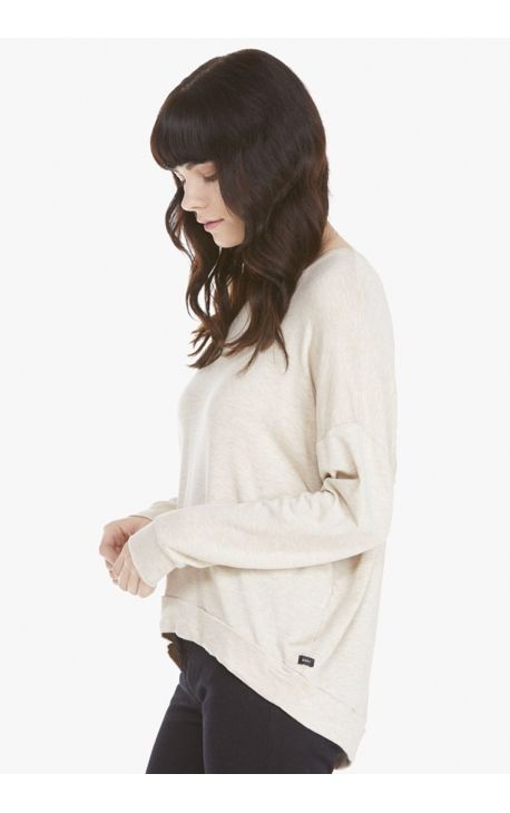 "T-shirt Femme OBEY ""RILEY LONG SLEEVE"" oatmetal"