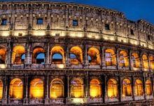 night architecture buildings colosseum nightlights roman 2560x1440 wallpaper Art HD Wallpaper
