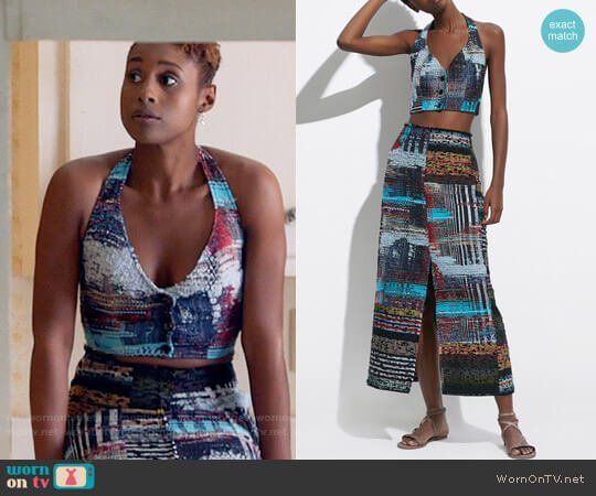 Issa's patchwork tweed halter crop top and skirt on Insecure.  Outfit Details: https://wornontv.net/78149/ #Insecure