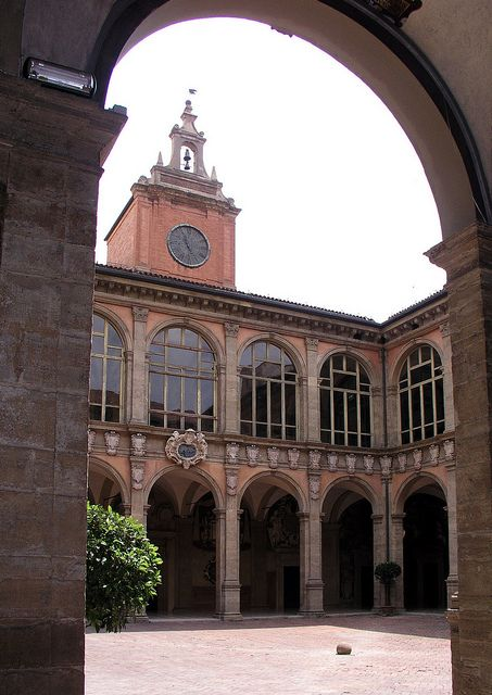 The Archiginnasio, the oldest university in the world. Commissioned by Pope Pius IV, completed in 1562. Bologna