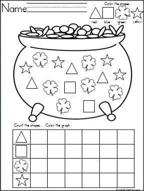 This is a Pot of Gold and Clovers shapes graph available on Madebyteachers.com.  Great for St. Patrick's Day and March. {freebie}