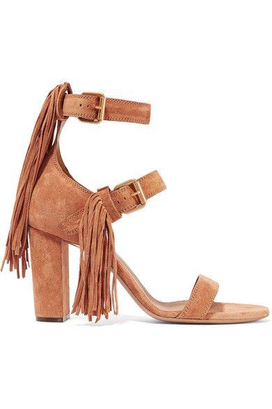Chloé | Fringe-trimmed suede sandals | NET-A-PORTER.COM