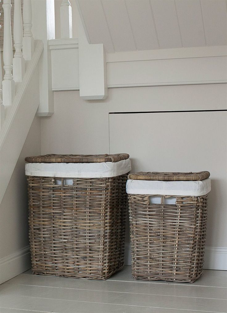 Large and Small Cadgwith Rattan Laundry Baskets by Garden Trading