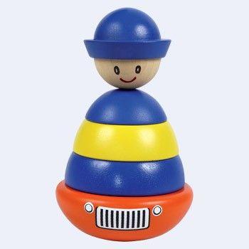 Houten Ringfiguur in de vorm van een politieman erg leuk voor de kleintjes.  Afmetingen circa 15 cm. - Santoys politieman ringfiguur BT