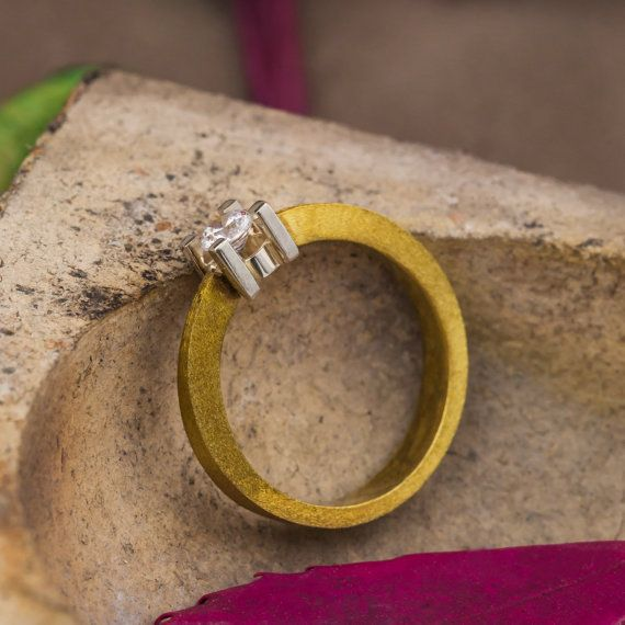 18K Yellow and White Mix Gold Engagement Ring by ZEHAVAJEWELRY