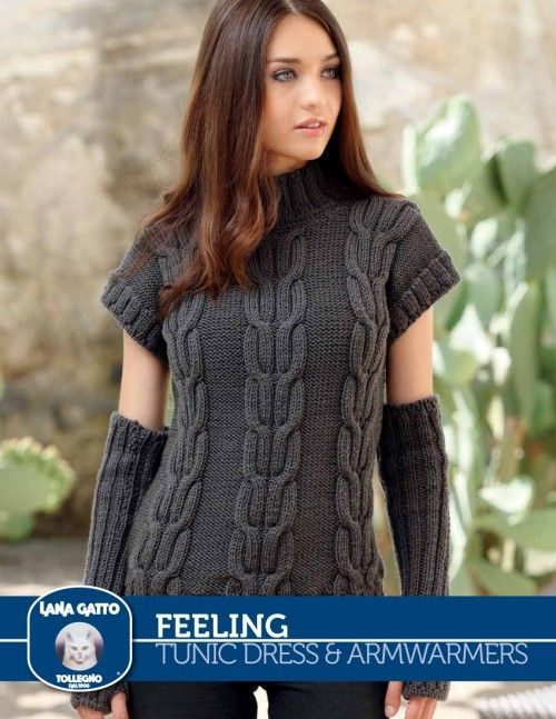 Feeling - Tunic Dress & Armwarmers from  by Lana Gatto at KnittingFever.com