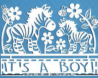 Zebra baby jongen papier snijden van svg / dxf / eps / bestanden en pdf / png afdrukbare sjablonen voor hand snijden. Digitale download. Commercieel gebruik ok.