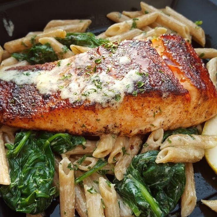 "Bbq jerk salmon over pasta! """" @allthecooks #recipe"
