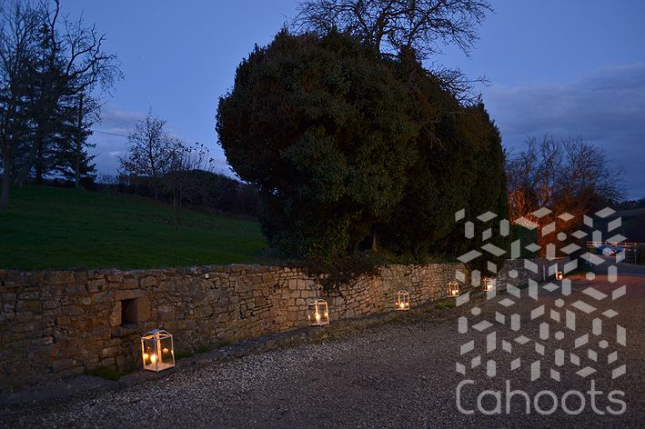 Pathway with outdoor lanterns
