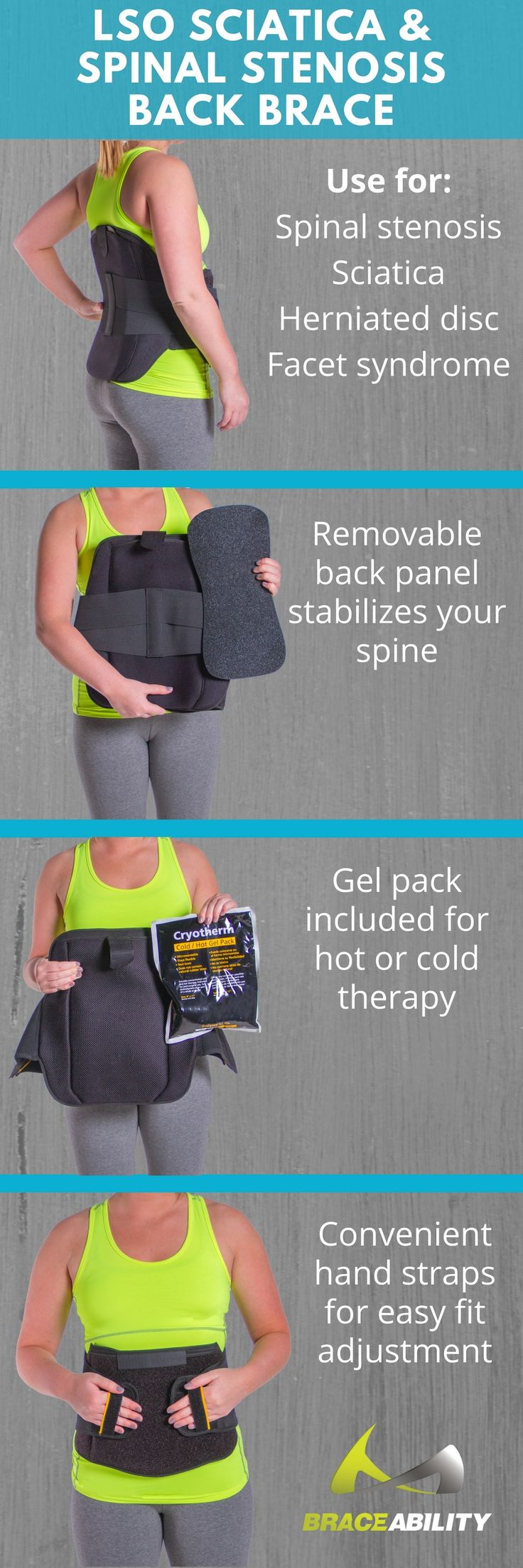 This disc unloader back brace eases back pain by taking pressure off the lumbar discs and shifting the load to the abdominal region. The heat and ice packs will help with the therapy process making recovery from spinal stenosis even faster!