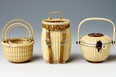 """Miniature Nantucket Baskets, Baskets range in height from 2 5/8"""" to 5 3/8"""". Imported."""