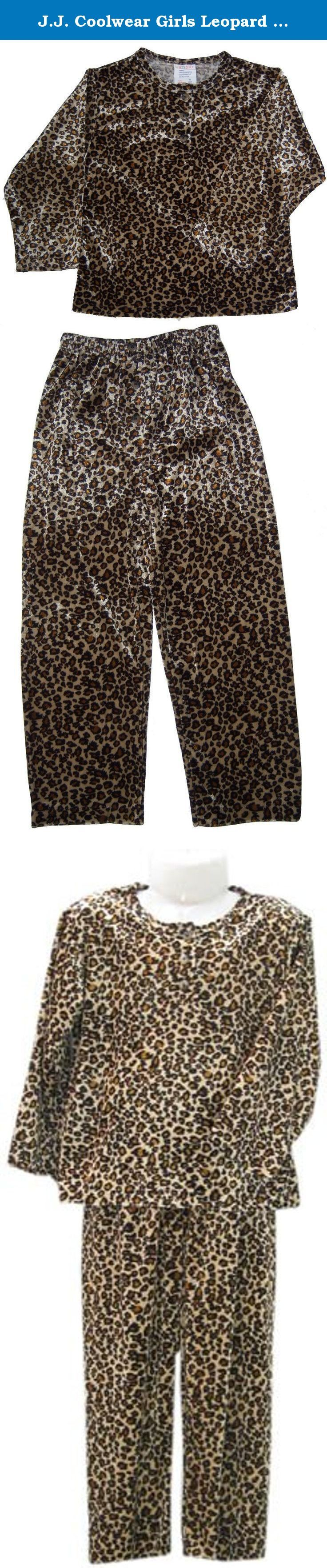 J.J. Coolwear Girls Leopard 2-pc Pajama Set + Free Leopard Slipper Size:6. Girls 2-pc Pajama Set Size 4- 6x7 3 Buttons at Front Opening of the Top and 3 Buttons at the Front of the Pants as Decoration. + Leopard Slipper.