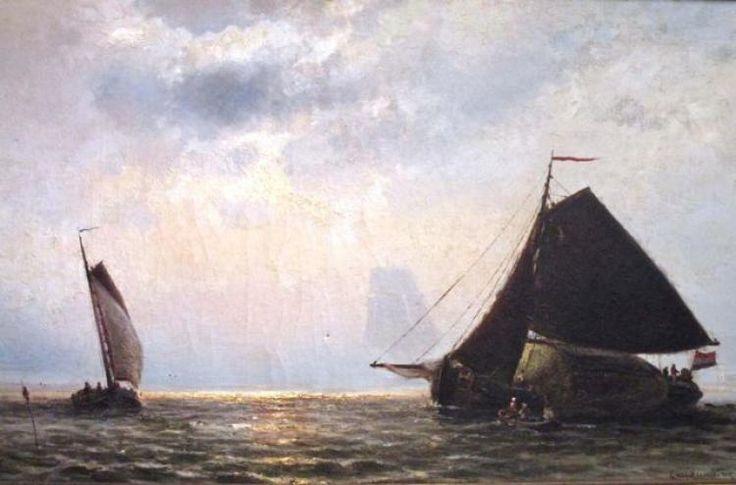 E. van Heemskerck- van Beest (1828- 1894) 'Vervoer van hooi op de Zuiderzee' olie op doek, ges. 43x75cm www.middelburgsveilinghuis.nl