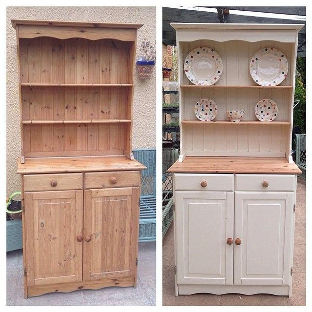My beautiful Welsh Dresser painted in Farrow & Ball New White before and after.