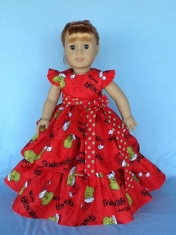 18 inch doll Retro ruffled dress. Fits American by ASewSewShop