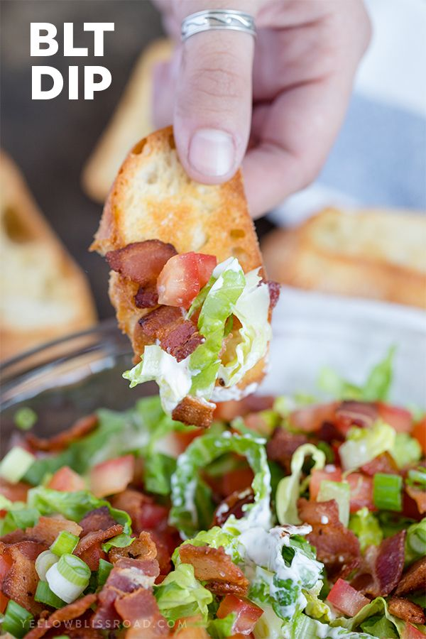 BLT Dip with Crostini for dipping | appetizer | Cold dip | Game day food
