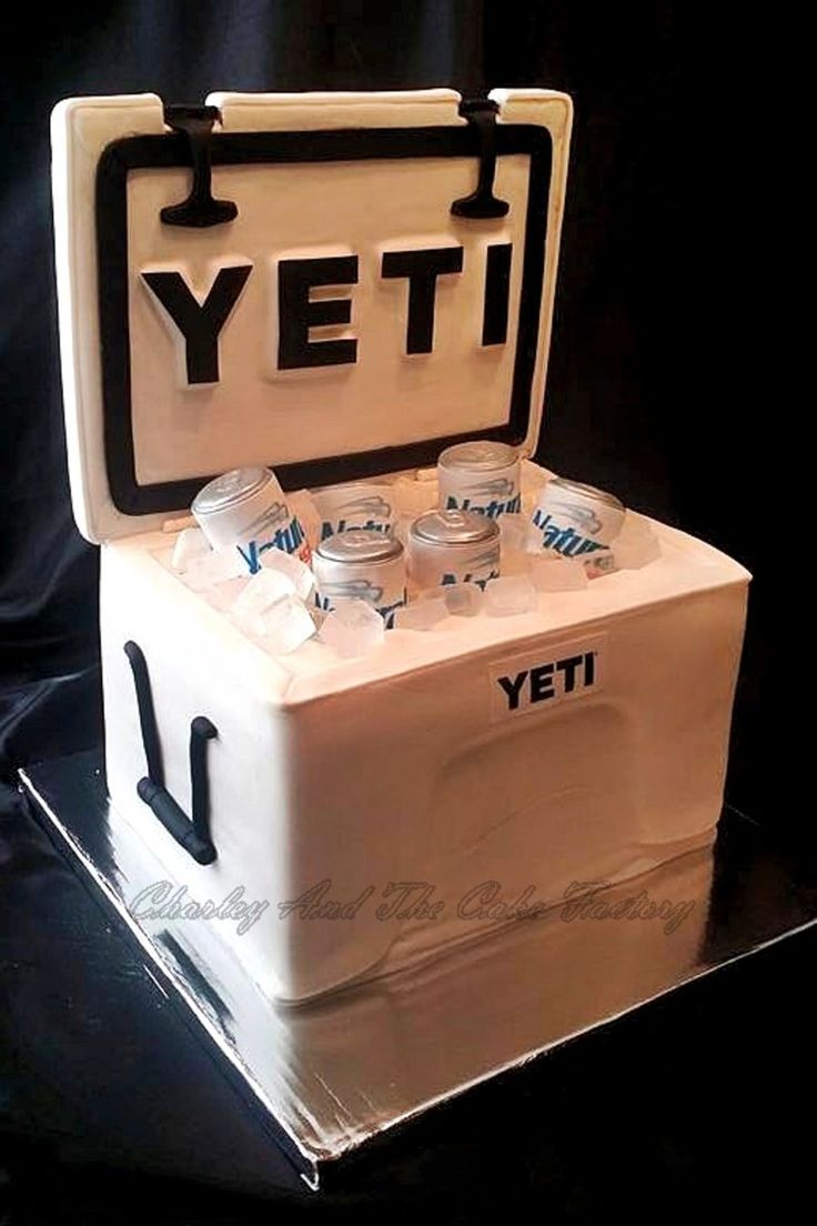 Yeti Cooler Cake Yeti Cooler made with all edible materials excluding the fondant covered board used for the lid. I used a Red Bull can to...