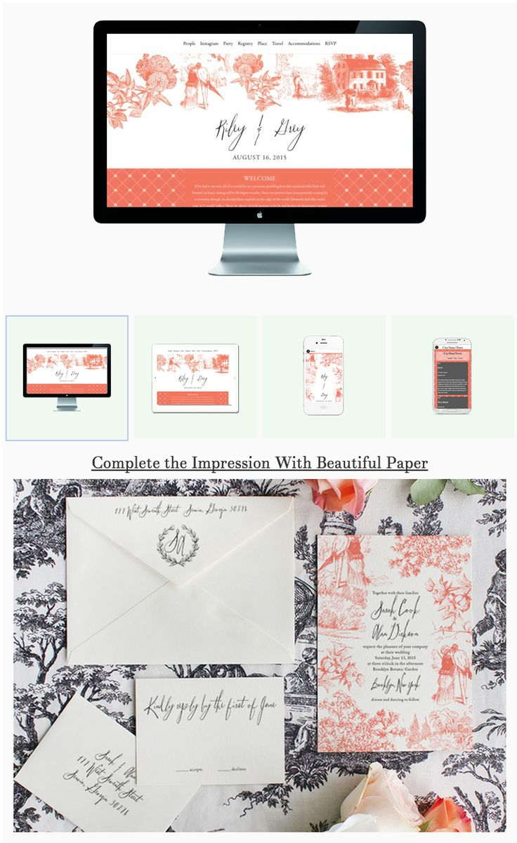 Toile wedding website & paper invite suite design by Riley & Grey X Luck Luxe Couture Correspondence. Available in 38 customizable colors! Head over to RILEYGREY.COM to check out this and other designs now.     (wedding website example, invitation, save the date, wedding app, spring/summer, vintage)