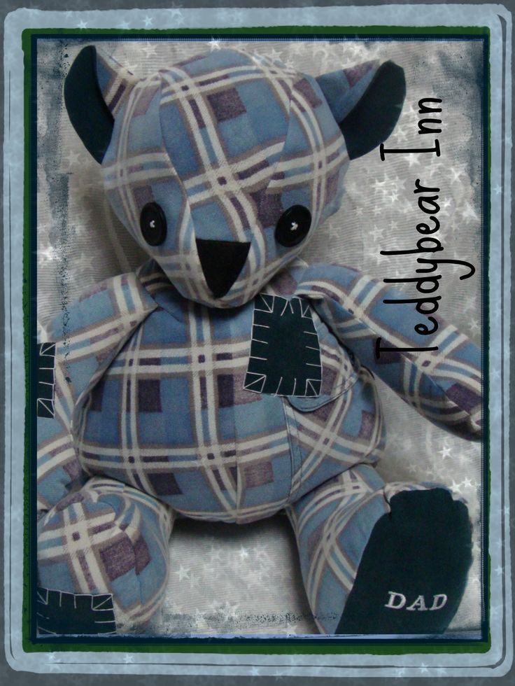 Memory teddy bear created from the flannelette shirt of a loved dad.