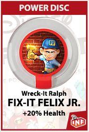 Disney Infinity Power Disc  Wreck It Ralph  Fix it Felix JR  +20% Health