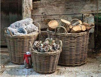 Home Decor Baskets Rattan Basket Storage Weaving Hobbys Mountain Style Rustic Chic Trays Organize