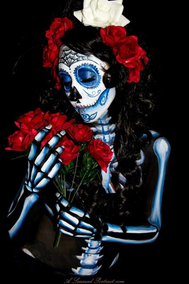 Sugar Skull, Mythica, Body painting, day of the dead, dia de los muertos, body paint, makeup, goth, gothic