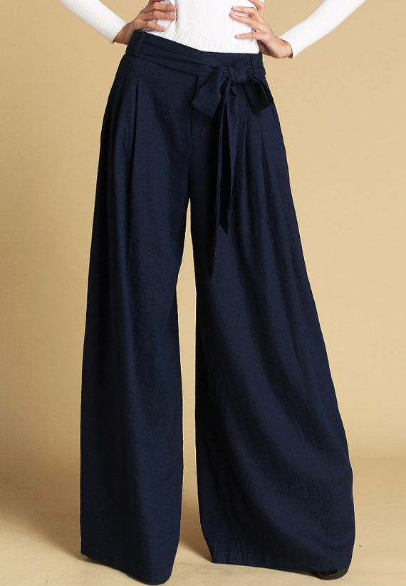 Navy blue pants women wild leg pants maxi pants by xiaolizi