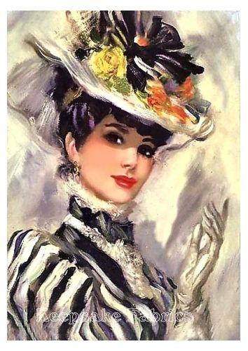 Lovely Victorian Lady Fabric Quilt Block Multi Szs V2   eBay