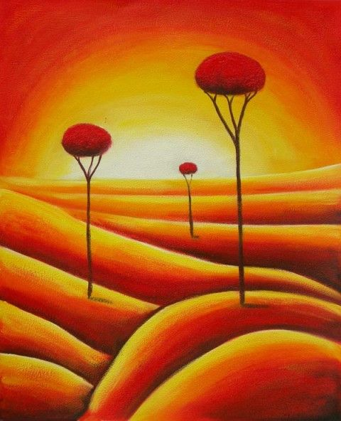Brilliant shades of red, orange, and yellow form this fanciful landscape. A hot…