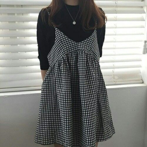 GINGHAM DRESS AND BLACK SHIRT