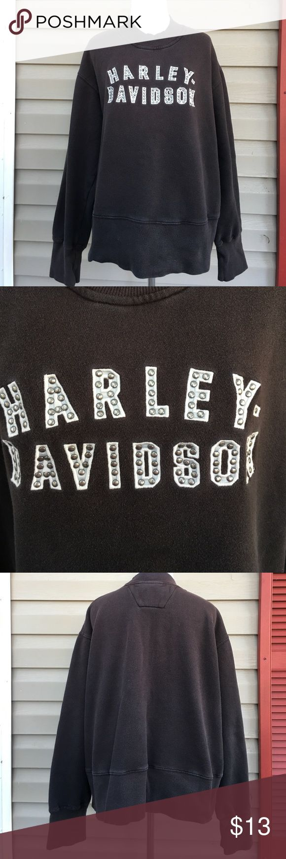 """Harley Davidson women's black sweatshirt Nice heavyweight sweatshirt with logo in white with silver rivets. 80% cotton 20% polyester. No stains or holes, some fading. Measures 27""""W x 25"""" L Harley-Davidson Tops Sweatshirts & Hoodies"""