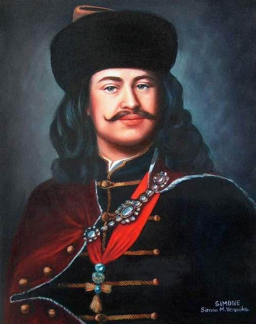 II. Rákóczi Ferenc  ünnepi  dolmányban.  A nyakbavető sajátos magyar utat futott be,  fél lánc amit a dolmányra akasztottak