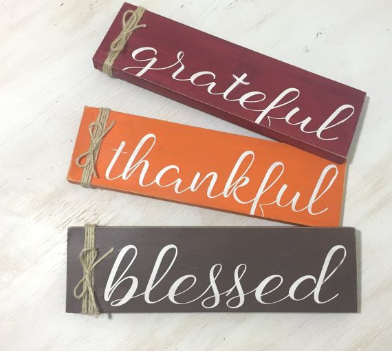 grateful thankful blessed wood sign fall by