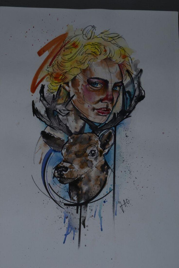Drawing watercolor watercolour aquarela deer woman blond tattoo ink tatuagem