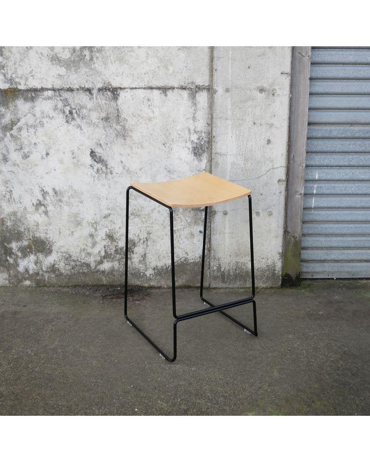 Colorado wire bar stool - black, ply seat 65cm