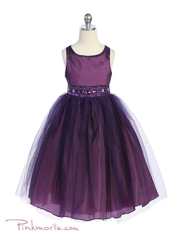 purple flower girl dresses | Home » Purple Rhinestone Beaded Tulle Flower Girl Dress