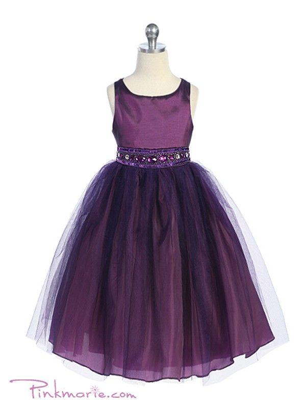 purple flower girl dresses | Home » Purple Rhinestone Beaded Tulle Flower Girl Dress