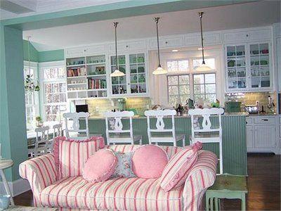 Cute kitchen! Love the aqua and white!