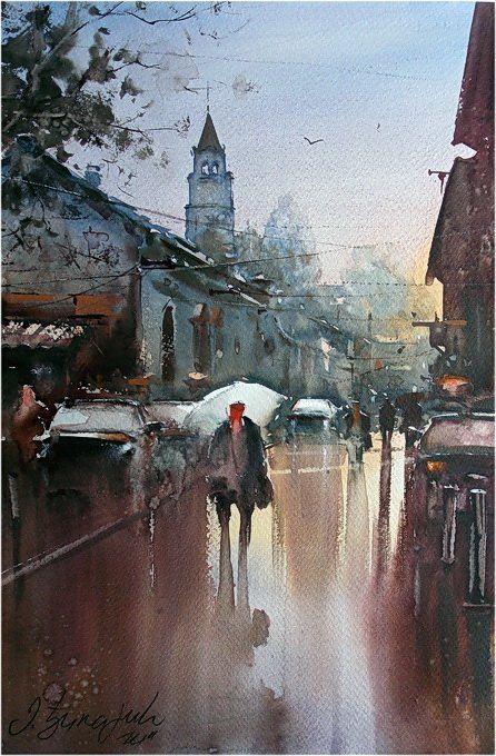 Dusan Djukaric  After rain Gardos, watercolor, 36x54 cm