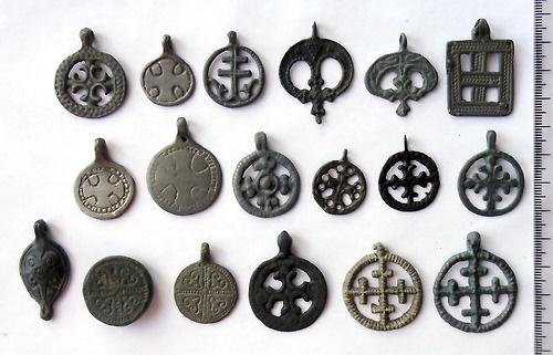 Ancient cross pendants, slavs & vikings amulets XI - XIII century