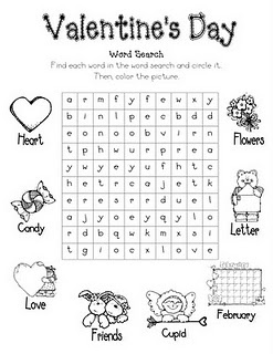 "Valentine word search - ""In Search of a Valentine.""  Customize a word search to include each child's name.  Be sure to do this activity soon enough that it can be sent home with children as the class list for Valentines.  -tkz"